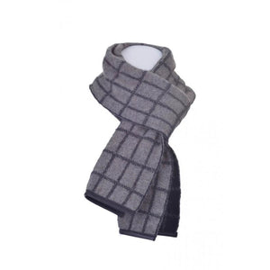 Possum Merino Checked Scarf in Bark / Black