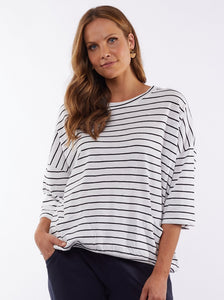 Maizie slouchy sweater in White and Navy Stripe by Elm
