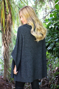 Lush Cowl Neck Poncho in Charcoal by Lothlorian