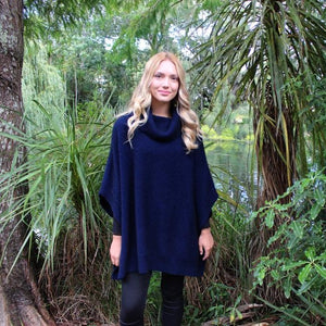 Lush Cowl Neck Poncho in Midnight by Lothlorian