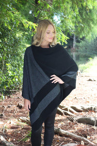 Cosset Poncho by Lothlorian in Black and Charcoal