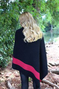 Cosset Poncho by Lothlorian in Black and Raspberry