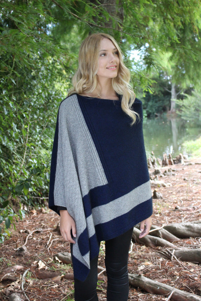 Cosset Poncho by Lothlorian in Midnight and Silver