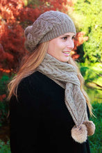 Cable Scarf with Rabbit Fur Pompom by Lothlorian