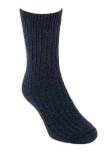 Casual Ribbed Possum Merino Sock by Lothlorian - Black