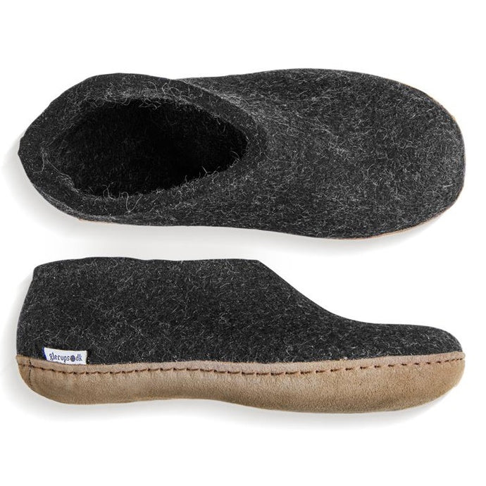 Glerups NZ Indoor Shoe Slipper with Leather sole in Charcoal