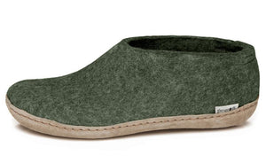 Glerups Indoor Shoe with Leather sole in Forest Green