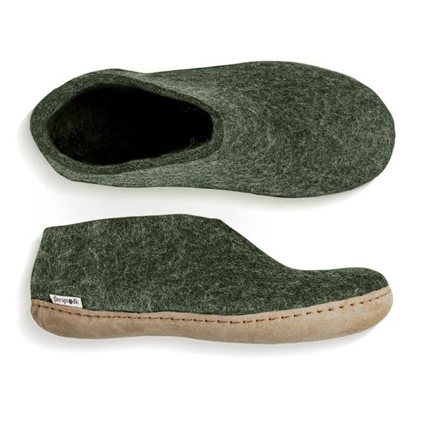 Glerups NZ Indoor Shoe Slipper with Leather sole in Forest Green
