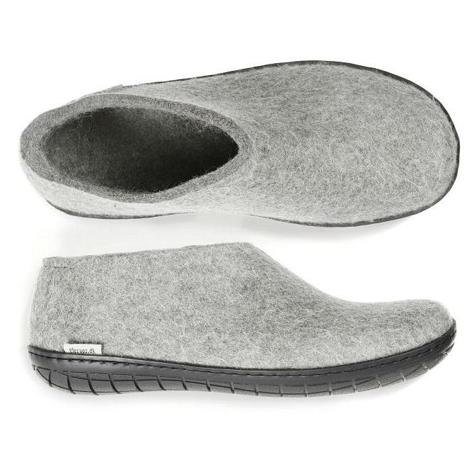 Glerups Black Rubber Sole Felted Woollen Shoe Grey