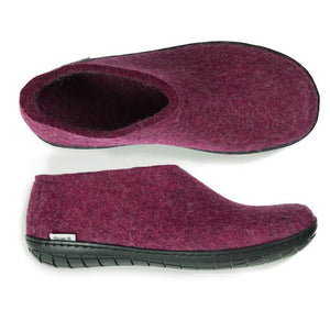 Glerups NZ Black Rubber Sole Shoe in Cranberry