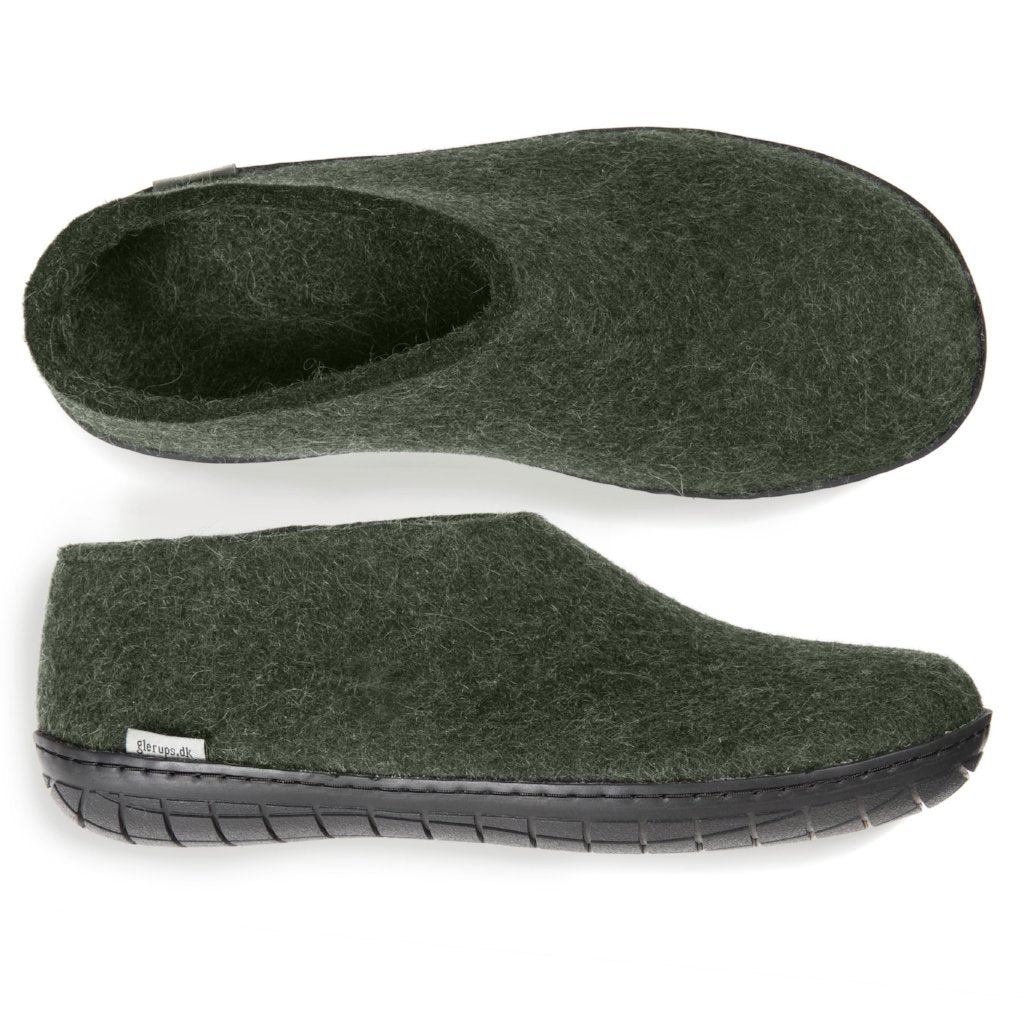 Glerups Black Rubber Sole Felted Woollen Shoe Forest