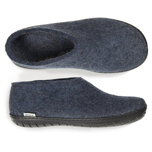 Glerups Black Rubber Sole Felted Woollen Shoe in Denim