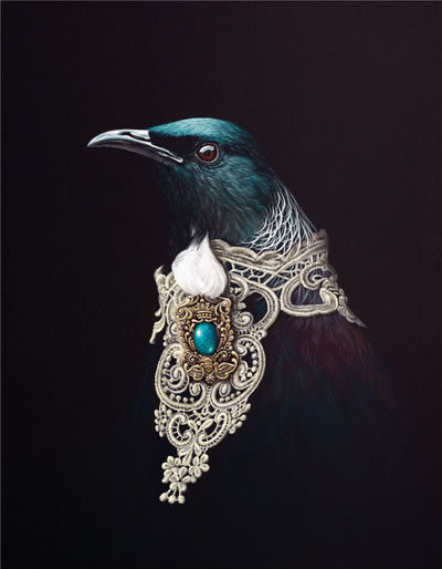 Adorned Orator by Jane Crisp Native NZ Tui