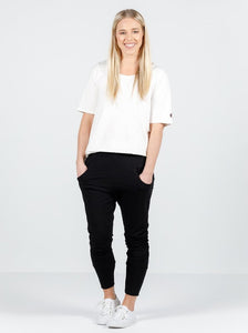 Home Lee Apartment Pants in Black with White Cross