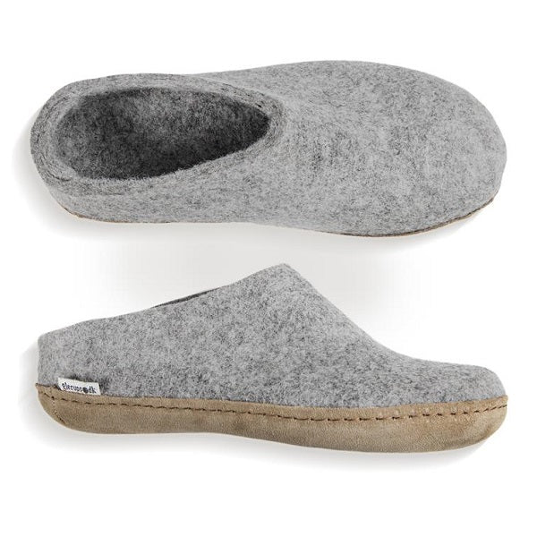 Glerups Leather Sole Felted Woolen Slip On in Grey