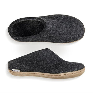 be588a6f6ee Glerups NZ Felted Wool Slip On with Leather Sole - Charcoal ...