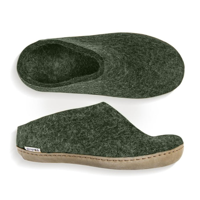 Glerups Leather Sole Slip On in Forest