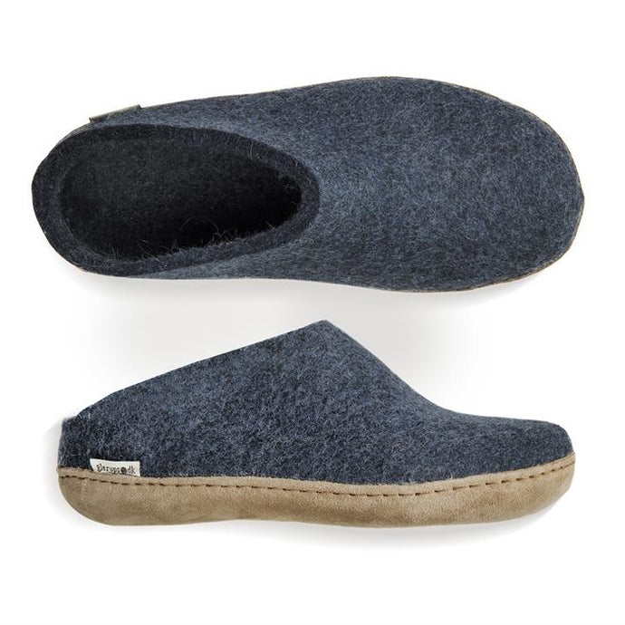 Glerups NZ Indoor Shoe Slipper with Leather sole in Denim