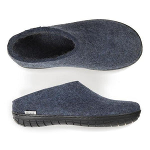 Glerups NZ Felted Wool Slip On With Black Rubber Sole - Denim