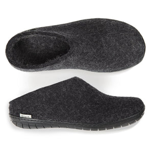 Glerups NZ Felted Wool Slip On With Black Rubber Sole - Charcoal