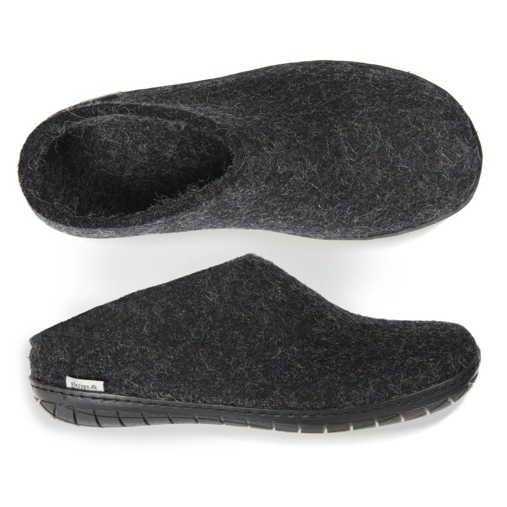 Glerups rubber sole felted wool slip on for indoor outdoor wear
