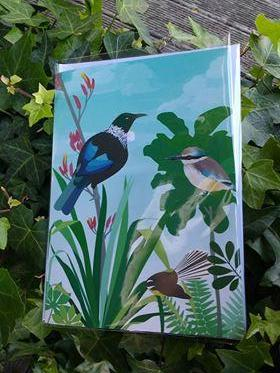 Sounds of NZ Bird Calls Card - Tui, Kingfisher, Fantail