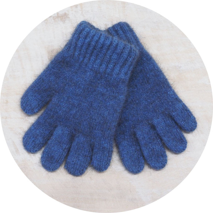 Cosy Kiwi Child's Possum Merino Gloves in Blue by Lothlorian