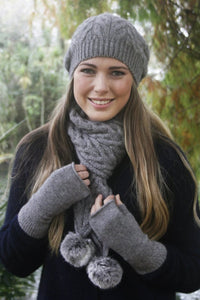 Relaxed Cable Beanie with Rabbit Fur Pompom by Lothlorian