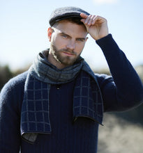 Possum Merino Checked Scarf in Navy and Pewter with lambskin trim