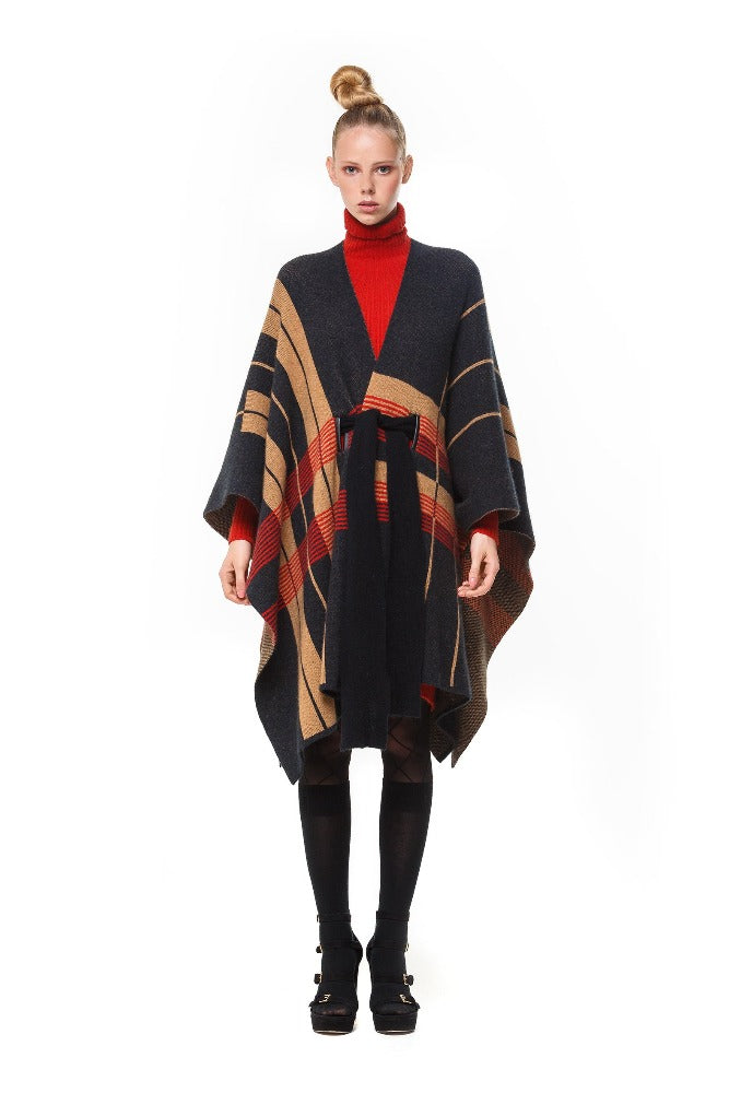 Elka Cape Coat in Black Plaid