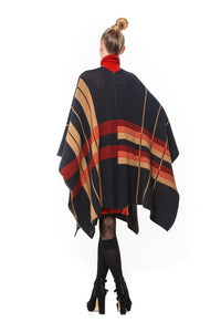 Elka Cape Coat in Possum Merino and silk Black Plaid