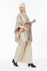 Elka Cape Coat in Oatmeal Plaid
