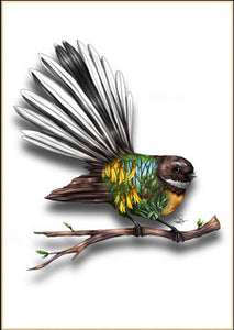 Sophie Blokker Fantail NZ Native Bird Print