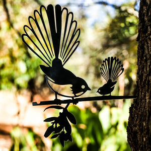Metalbird fantail and chick X Large