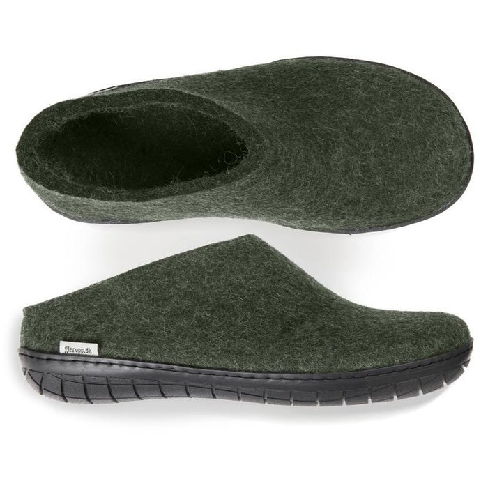 Glerups Black Rubber Sole Slip On in Forest