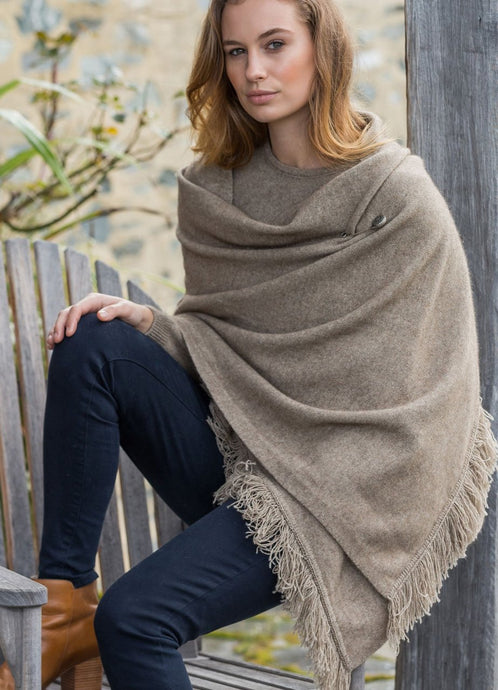 Possum Merino Fringed Shawl 5029 Oyster