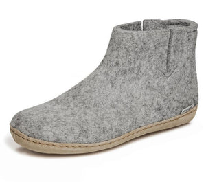 Glerups Leather Sole Felted Woolen Boot in Grey