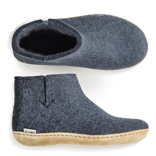 Glerups Leather Sole Felted Wool Boot in Denim