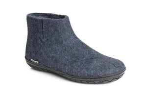Glerups NZ Felted Wool Boot With Black Rubber Sole - Denim