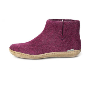 Glerups Felted Wool Leather Sole Boot in Cranberry