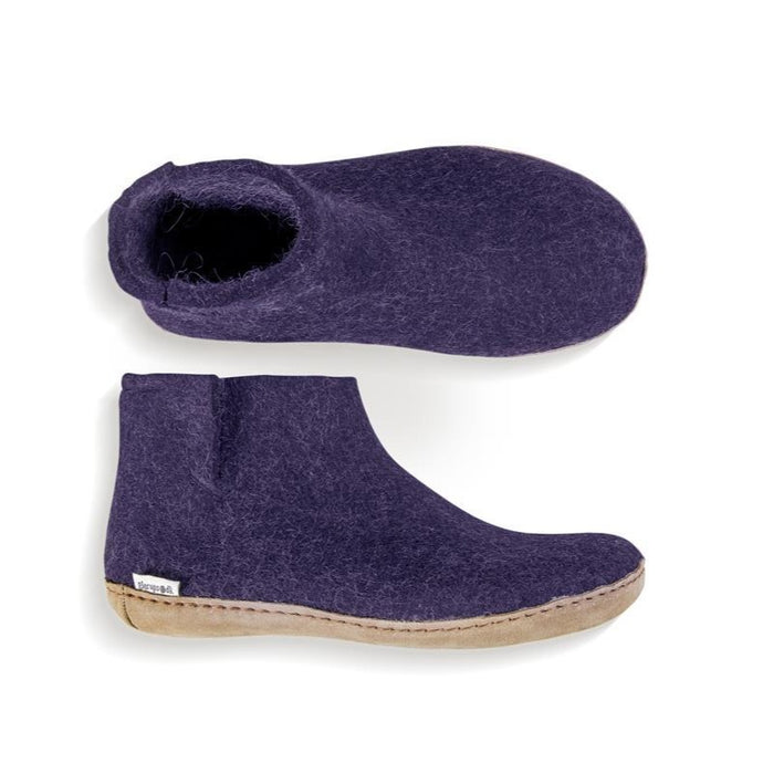 Glerups Felted Wool Boot with Leather Sole - Purple