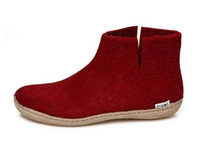 Glerups  Felted Wool Boot in Red with Leather sole