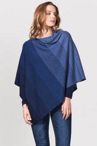 Royal Merino Graduated Stripe Poncho - Blue