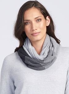 Royal Merino Graduated Stripe Infinity Scarf in Charcoal