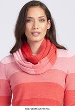 Royal Merino Graduated Stripe Infinity Scarf in Geranium
