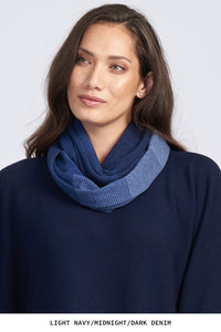 Royal Merino Graduated Stripe Infinity Scarf in Navy