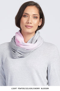 Royal Merino Graduated Stripe Infinity Scarf in Cherry Blossom