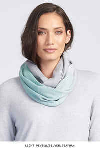 Royal Merino Graduated Stripe Infinity Scarf in Seafoam