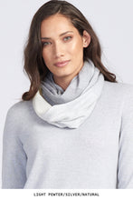 Royal Merino Graduated Stripe Infinity Scarf in Silver