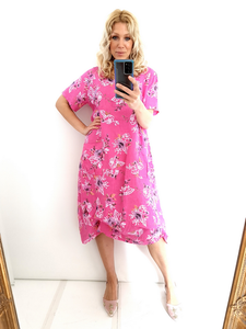 Helga May Bella Dress with pencil rose in Hot Pink